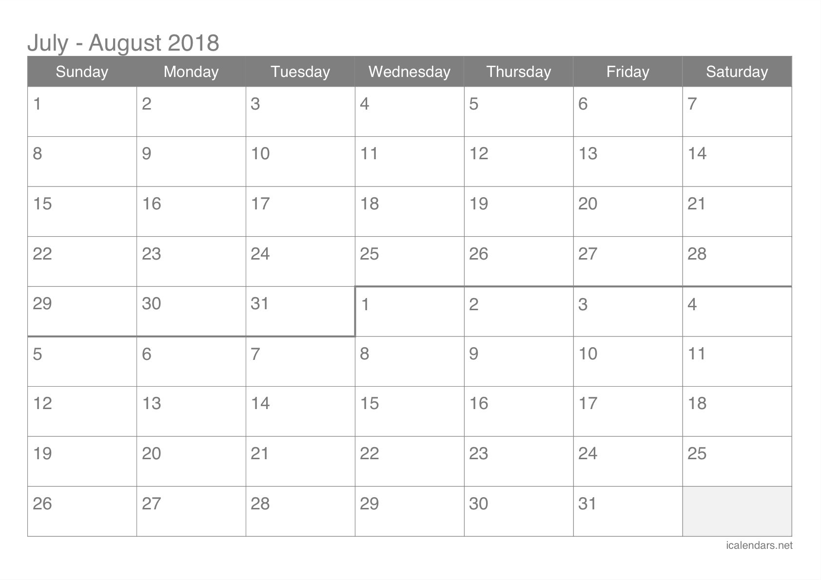 July And August 2018 Printable Calendar - Icalendars with regard to August Calendar Printable 2 Month On One Page