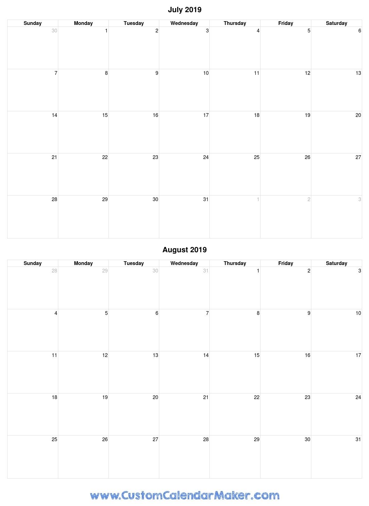 July And August 2019 Free Printable Calendar Template throughout July And August Blank Calendar