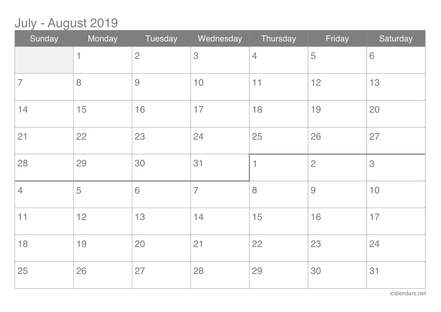 July And August 2019 Printable Calendar - Icalendars inside June And July Monthly Calendar
