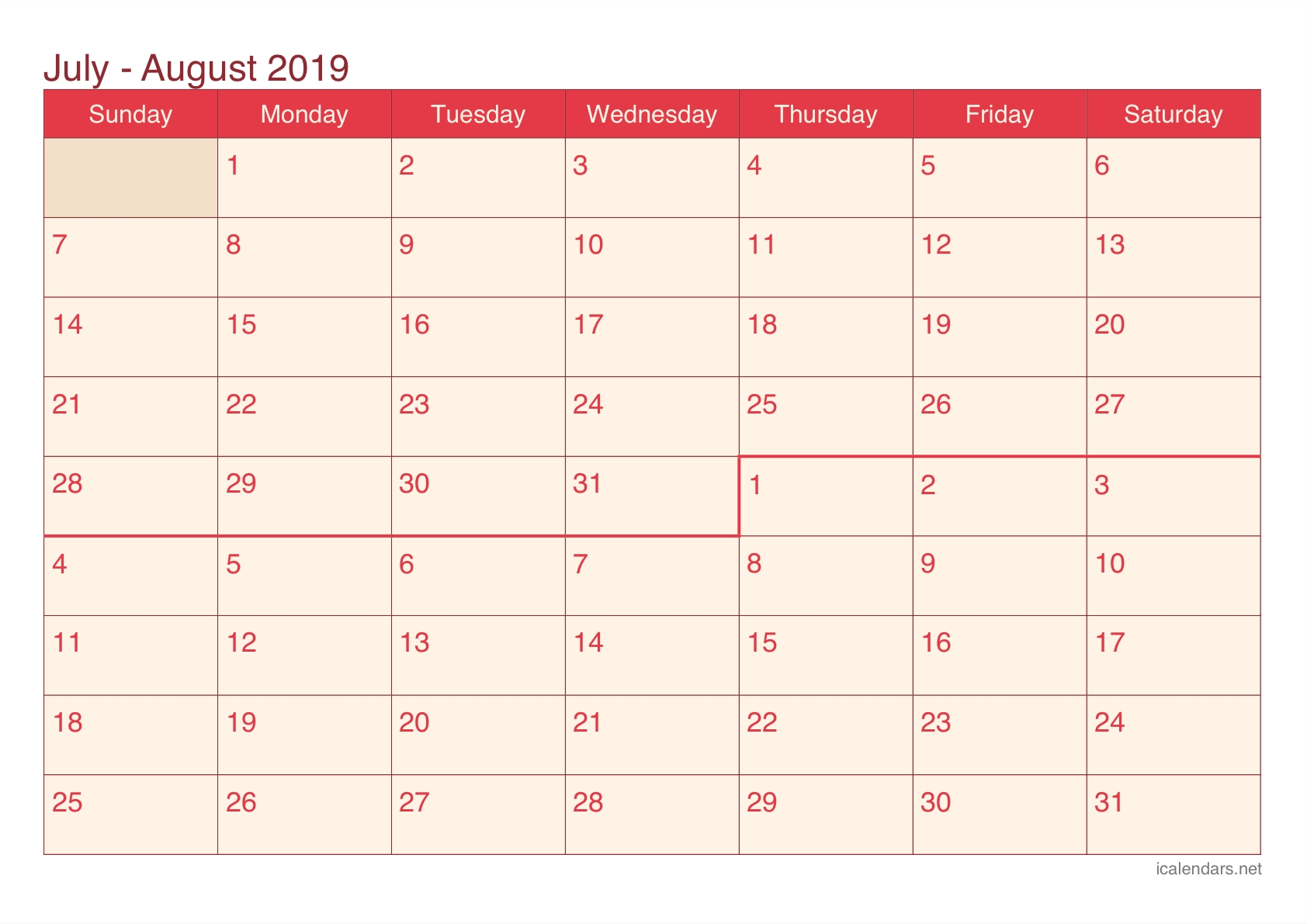 July And August 2019 Printable Calendar - Icalendars throughout July And August Blank Calendar