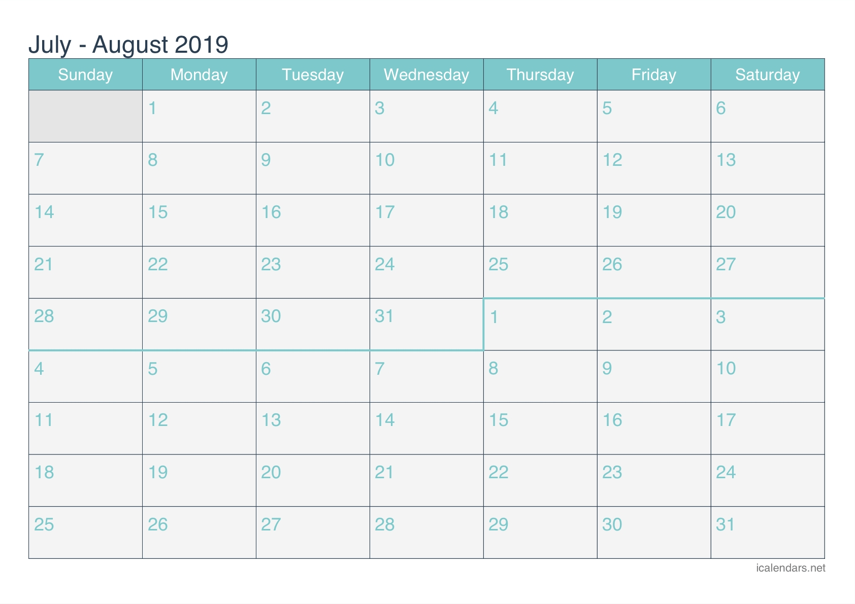 July And August 2019 Printable Calendar - Icalendars throughout Printable July Through August Calendars