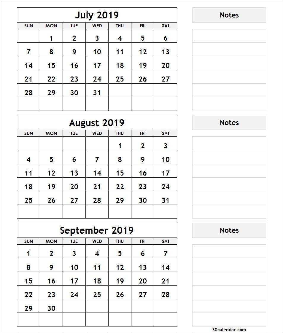 July August September 2019 Calendar   3 Month Calendar Template regarding August And Sept Monthly Calendar
