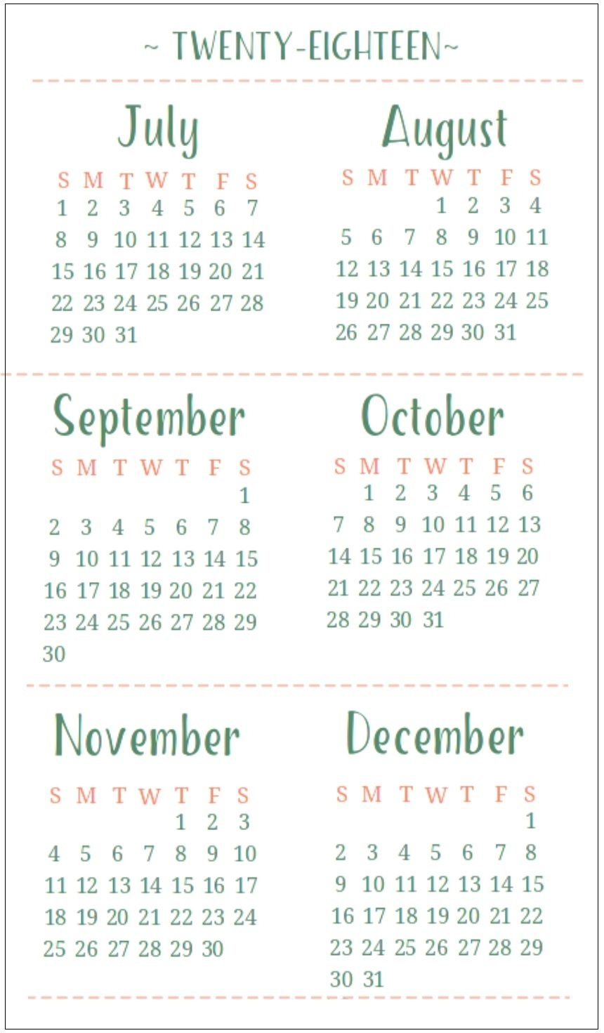 July August September October November December 2018 Calendar 6 with Printable July Through August On One Page Calendars
