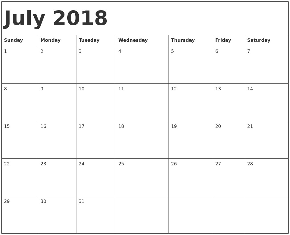July Calendar Monday - July Calendar Printable throughout July Calendar Monday To Sunday