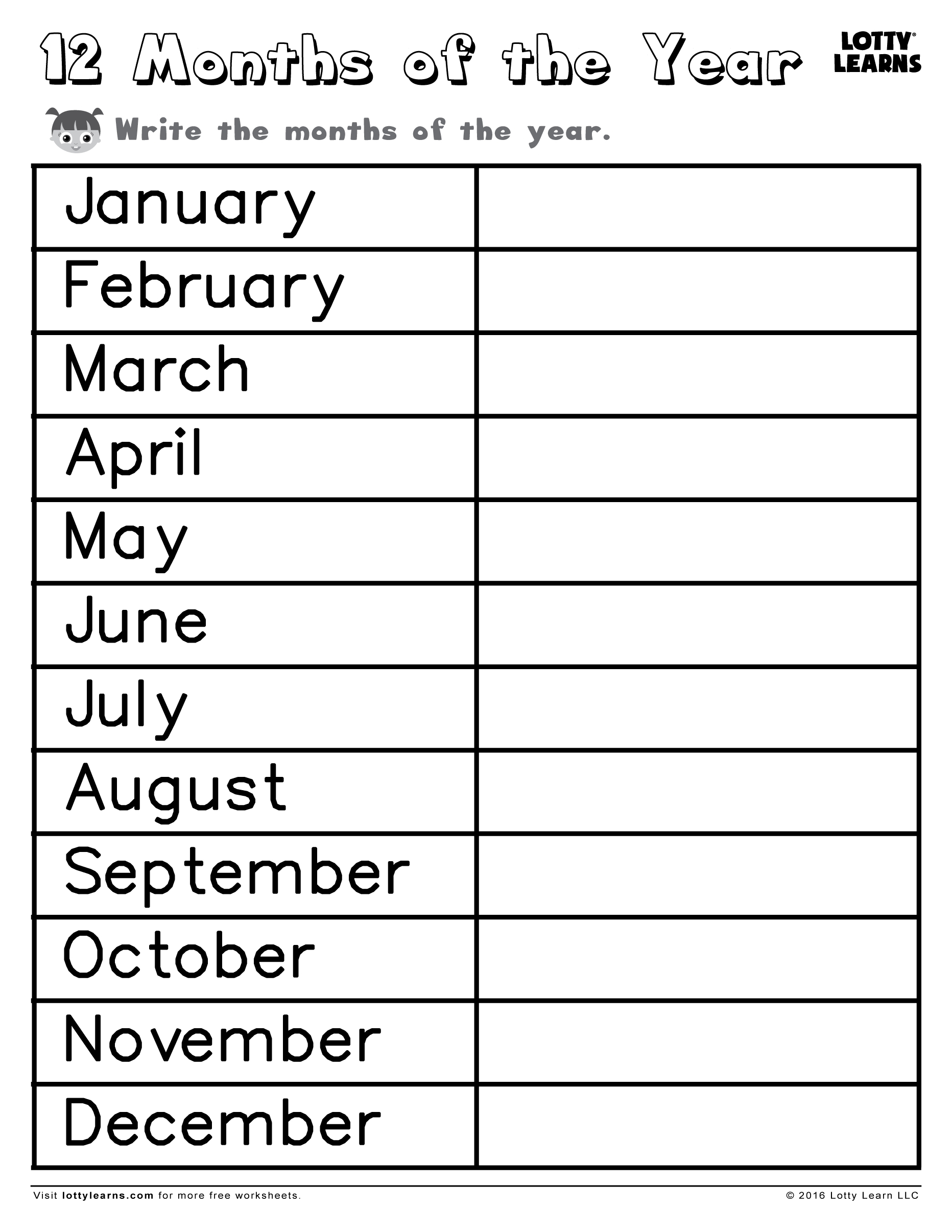 July-December Writing Months Of The Year Worksheet | Calendar Format with regard to July-December Writing Months Of The Year Worksheet