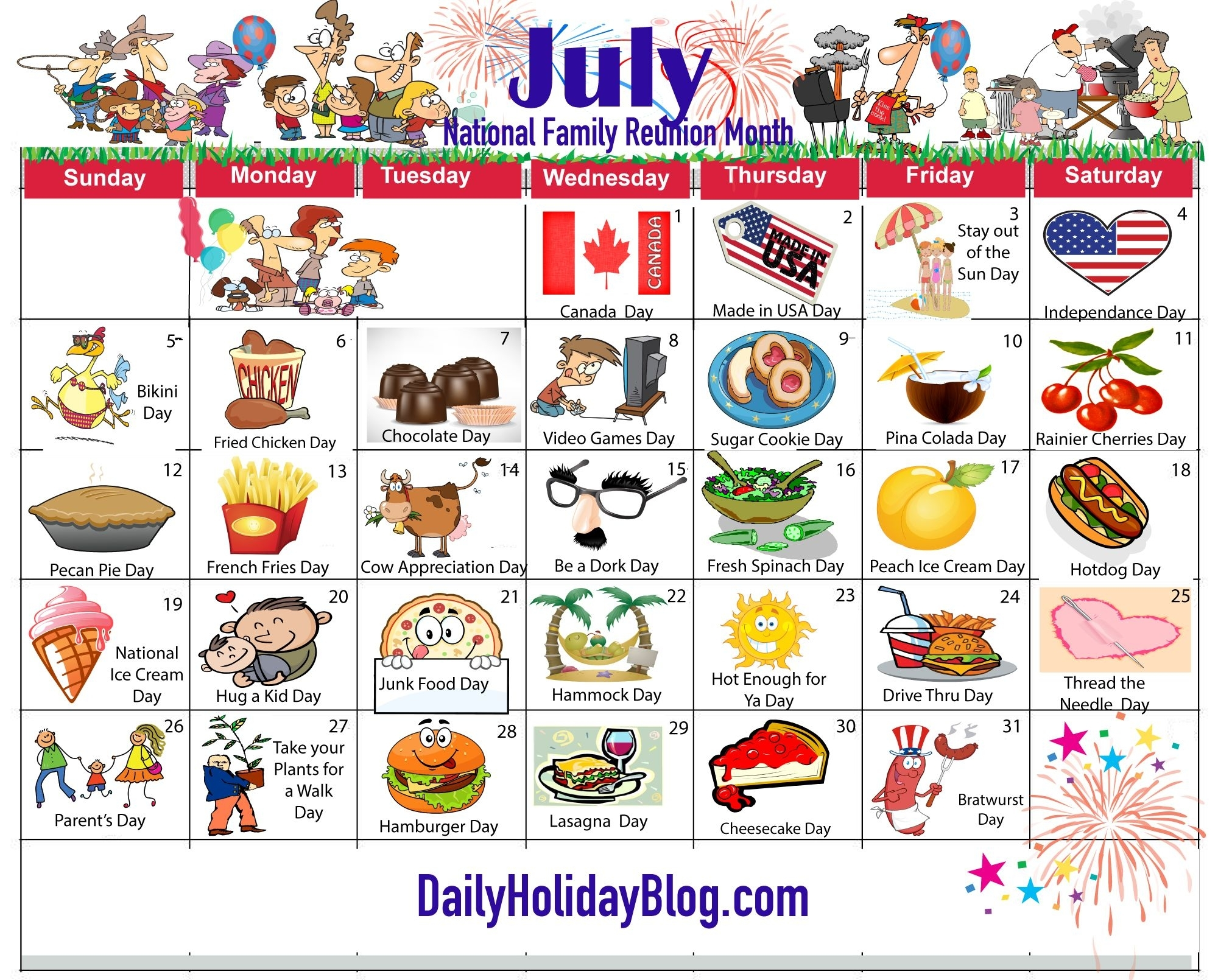 July Holiday Calendar 2015 | My Life Planner | National Holiday in Month Of July National Days