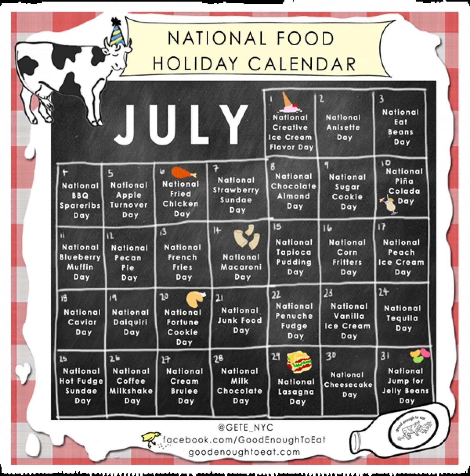 July National Food Holiday Calendar | Visual.ly throughout July National Food Day Calendar