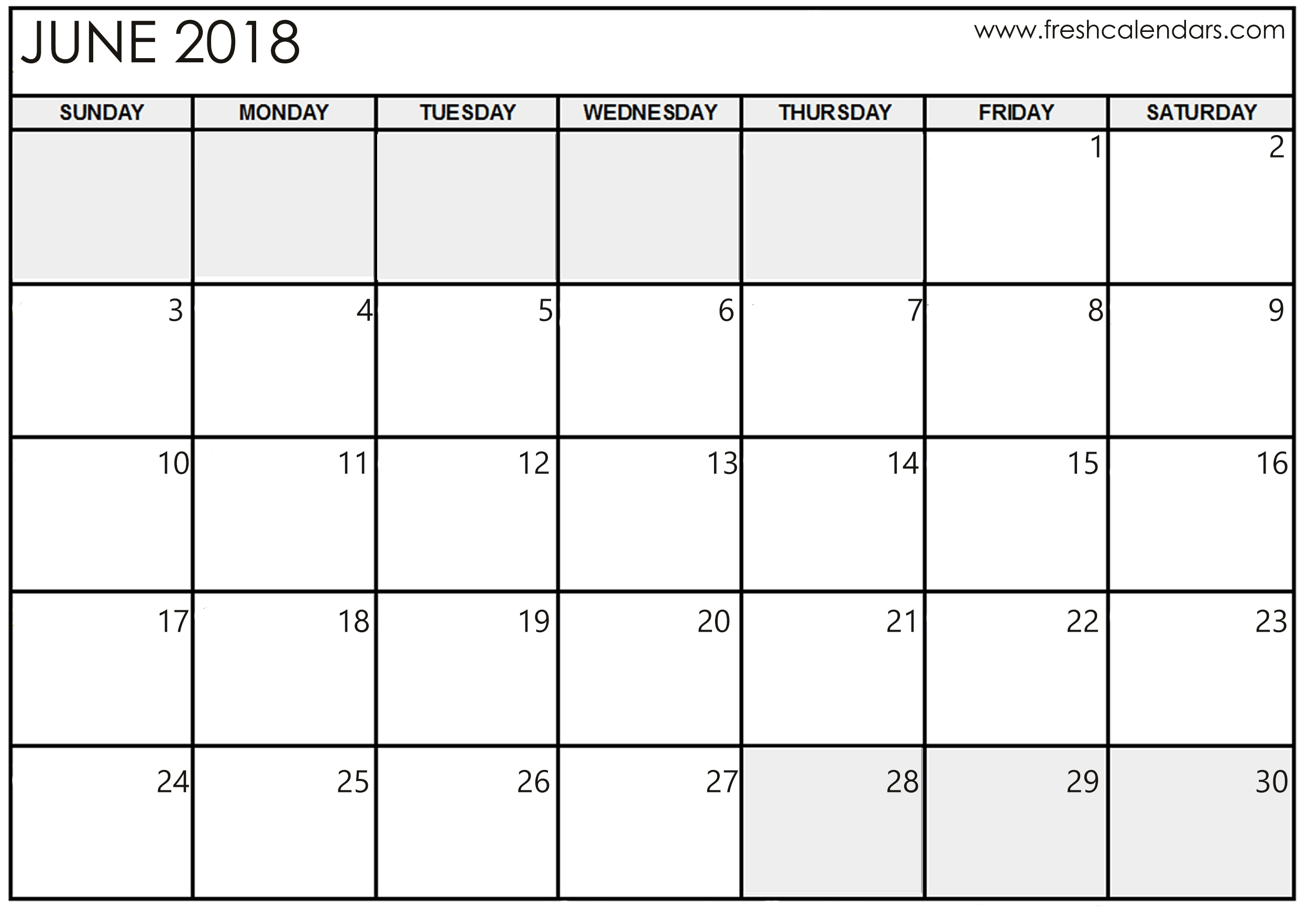 June 2018 Calendar Printable - Fresh Calendars inside June And July Calendar Printable