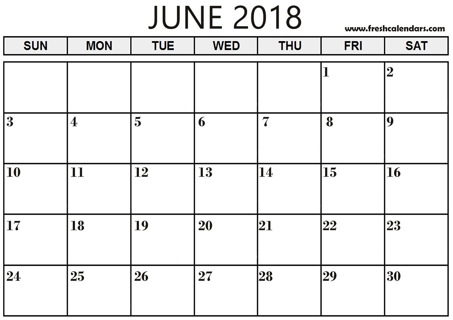 June 2018 Calendar Printable - Fresh Calendars with regard to Large Printable Blank Calendar Pages