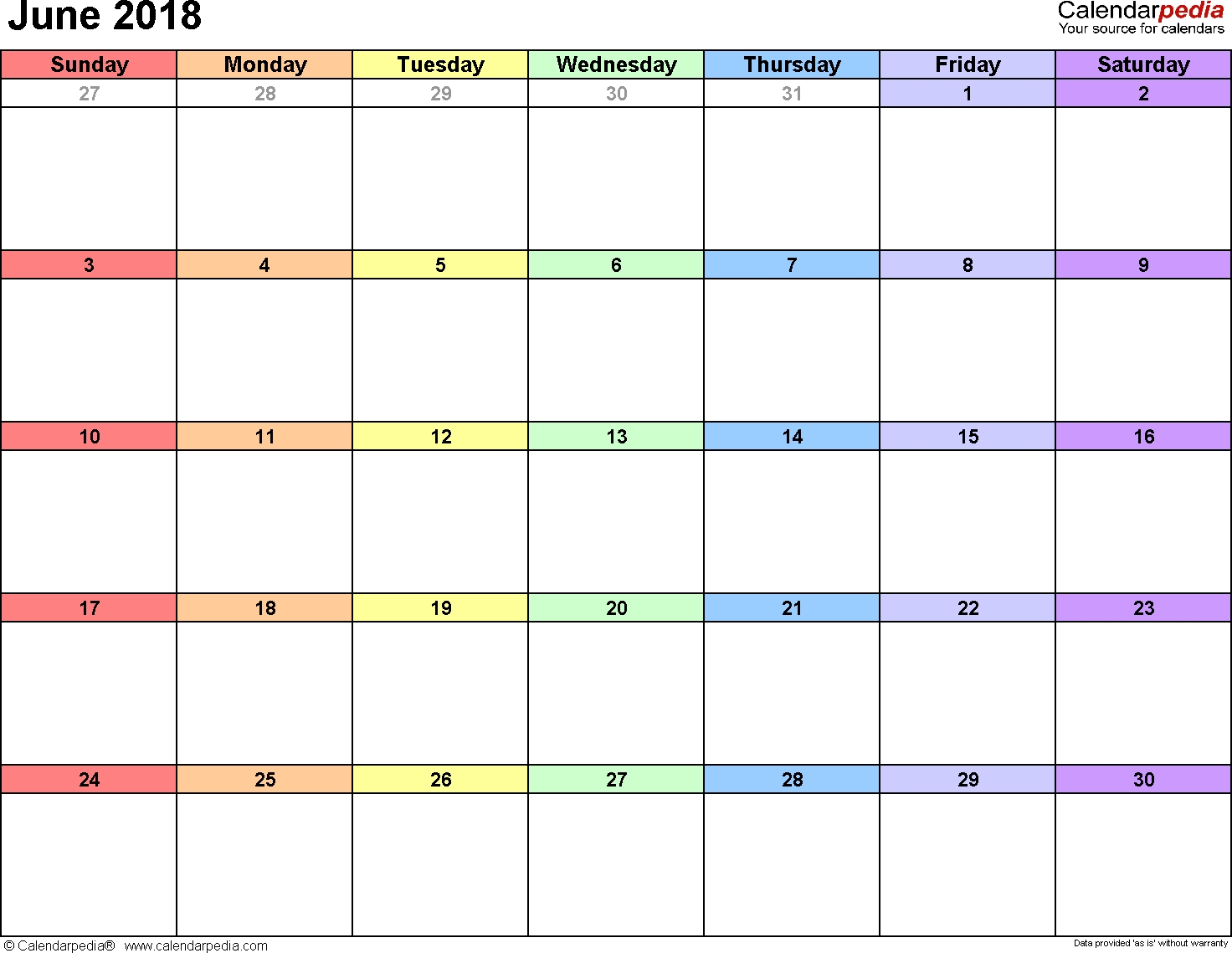 June 2018 Calendars For Word, Excel & Pdf for Calendar With Large Space For Notes In Excel