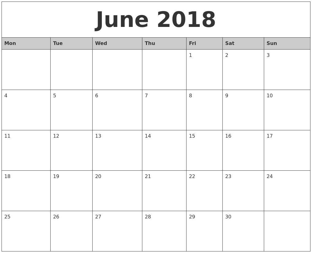 June 2018 Monthly Calendar Printable In Printable Monthly Calendar within Month Calendar Beginning On Monday