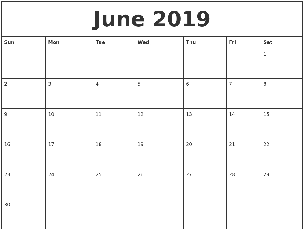 June 2019 Blank Monthly Calendar Template in Free Editable Monthly Calendar Template