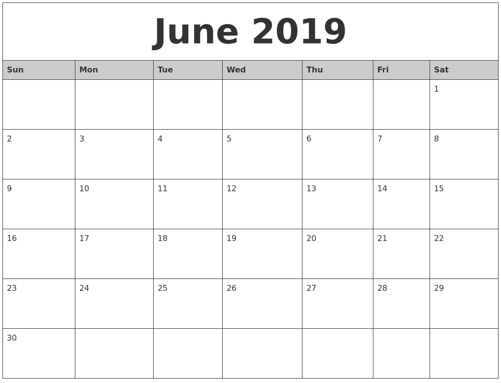 June 2019 Monthly Calendar Printable within June And July Calendar Printable