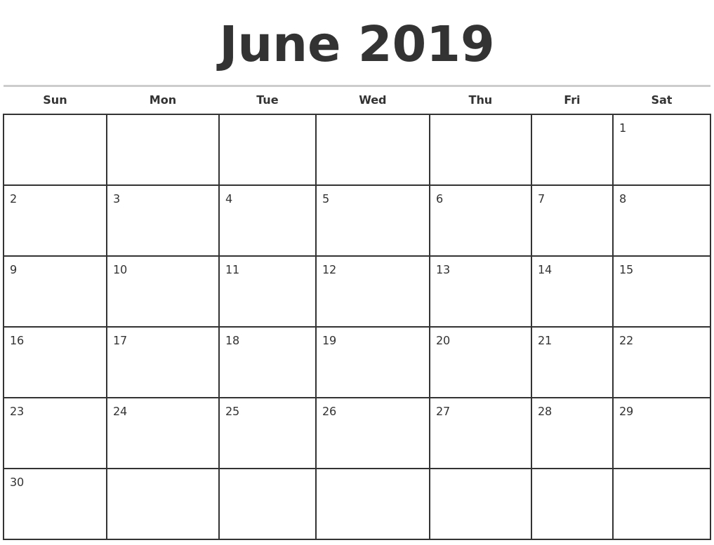 June 2019 Monthly Calendar Template in Blank Monthly Calendar Monday Start