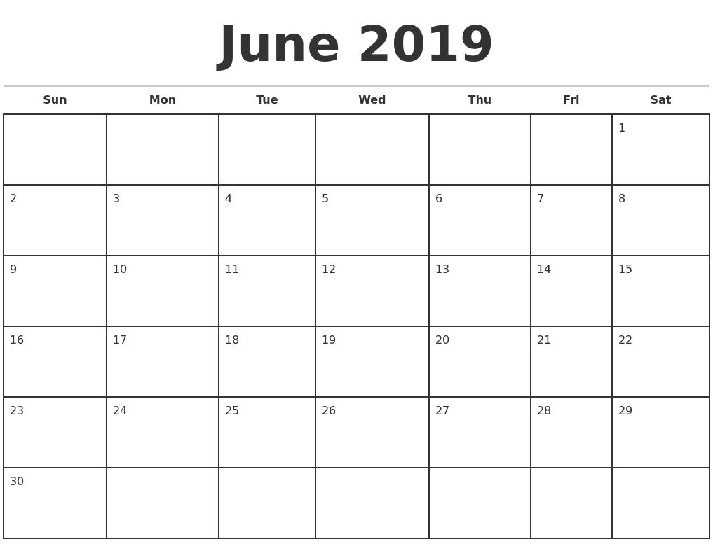June 2019 Monthly Calendar Template regarding Printable June And July Calendar