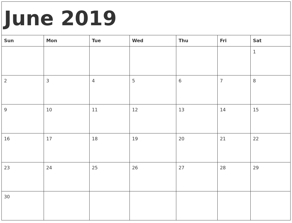 June 2019 Printable Calendar Templates - Free Pdf Holidays - Free intended for Free Fillable Blank Calendar Templates