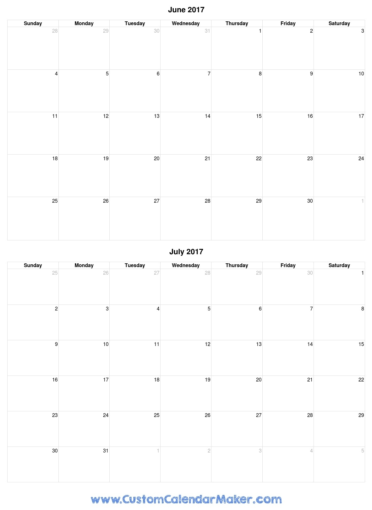 June And July 2017 Free Printable Calendar with regard to June And July Calendar Printable