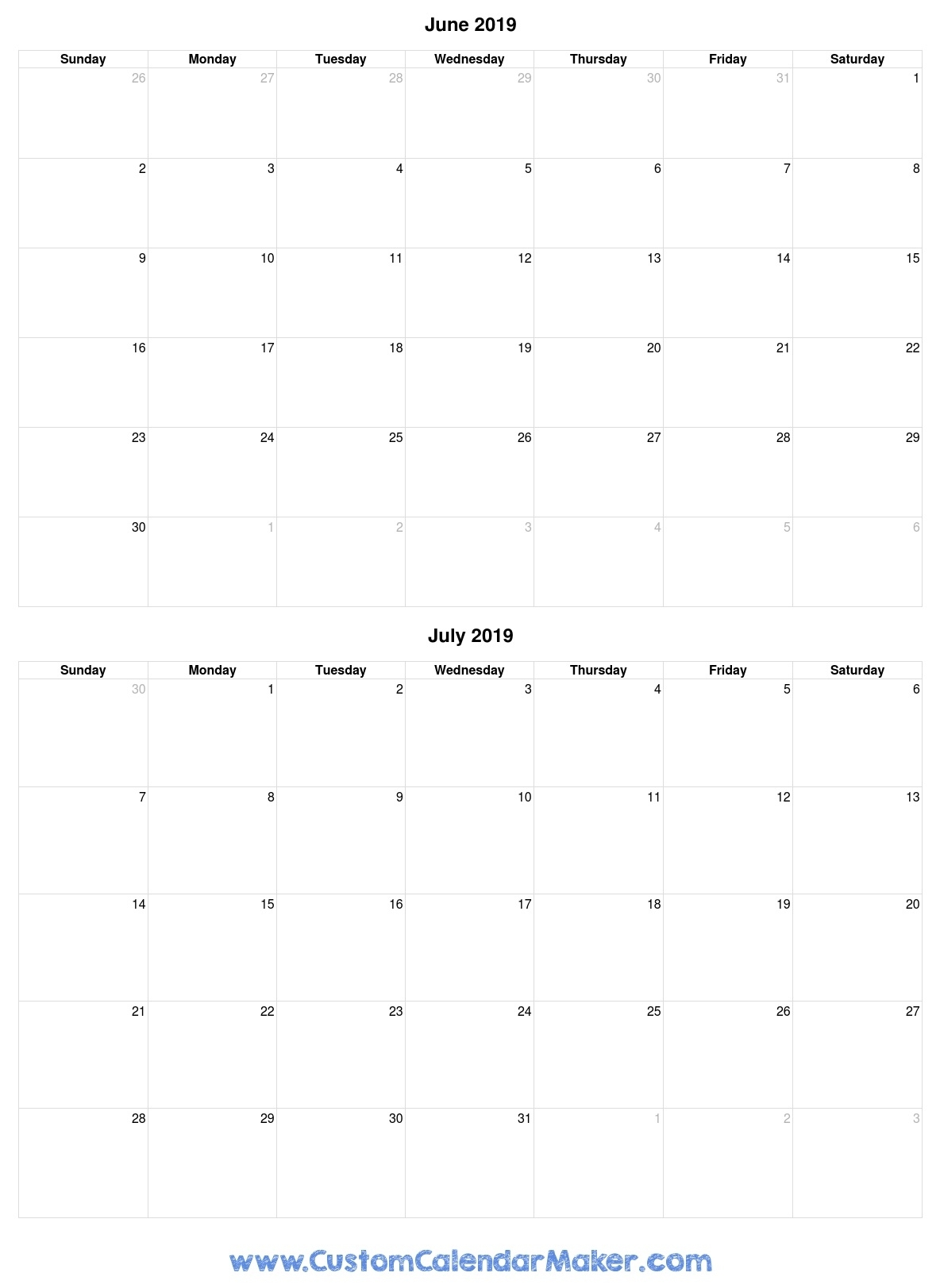 June And July 2019 Free Printable Calendar Template throughout Calender For June And July