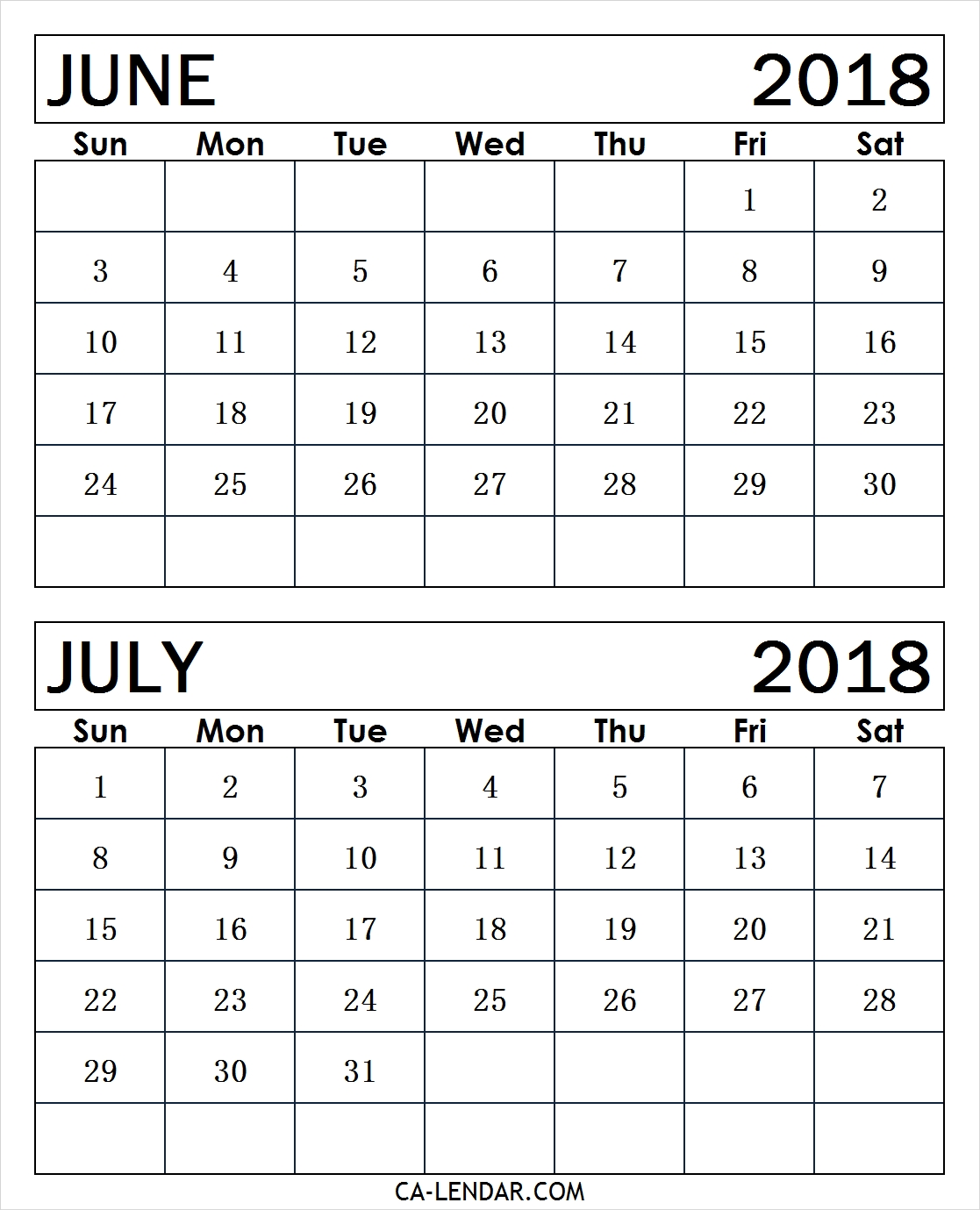 June July 2018 Calendar Free Printable | Two Months Calendar throughout 2 Month Calendar Template June July
