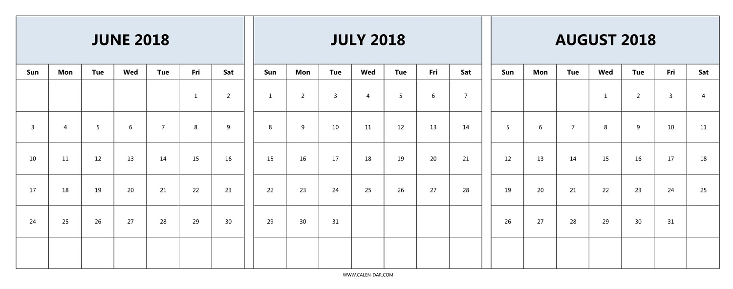June July August 2018 Calendar | Three Month Calendar Template inside 3 Month Printable Calendar June July August