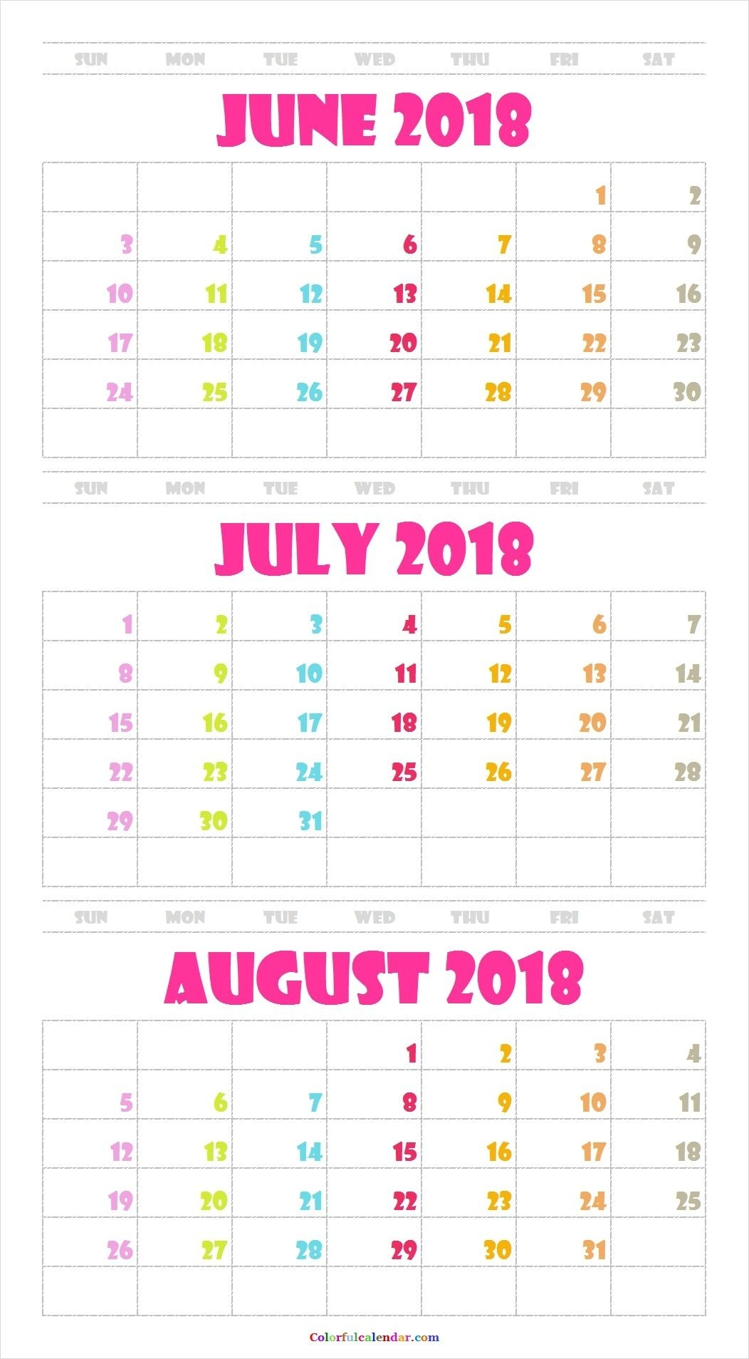 June July August 2018 Calendar With Color | 31 Calendar | August intended for August Printable Images To Color