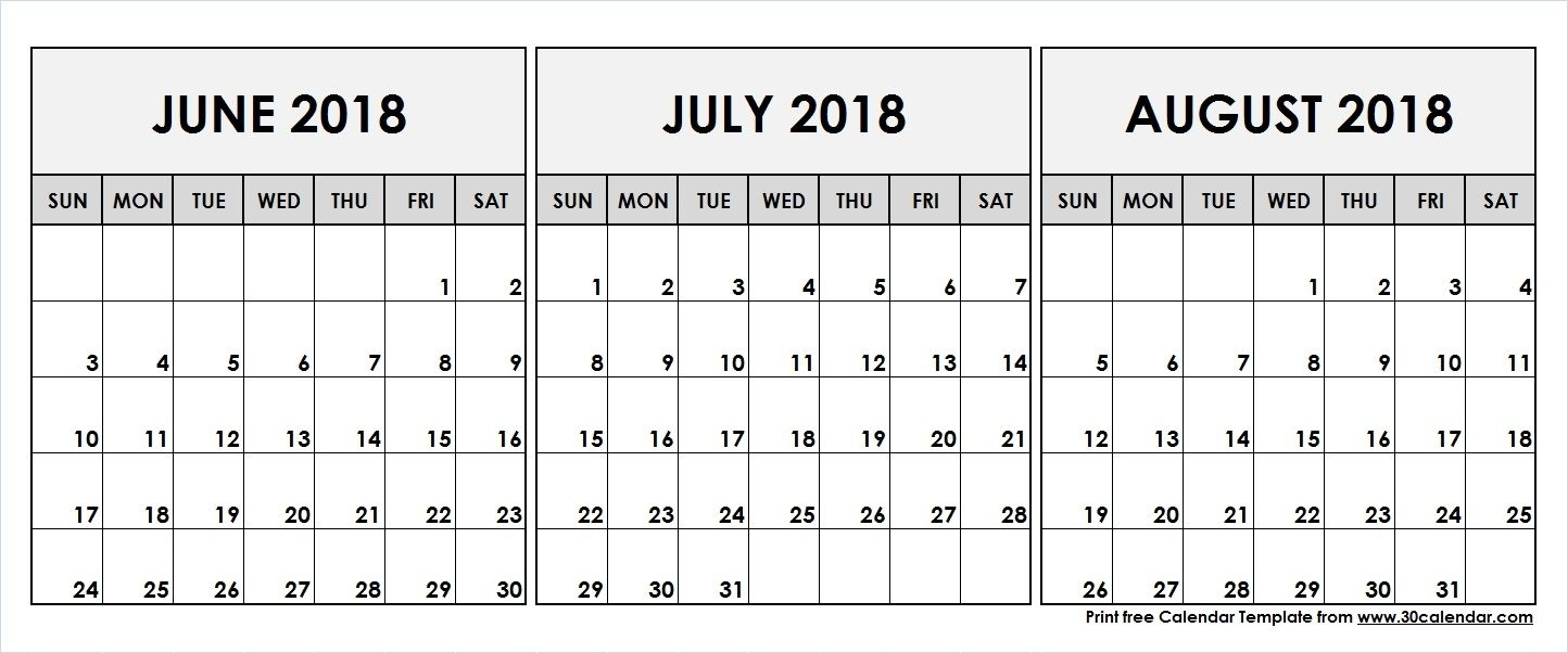 June July August 2018 Printable Calendar | 2018 Calendar | 3 Month pertaining to 3 Month Printable Calendar June July August