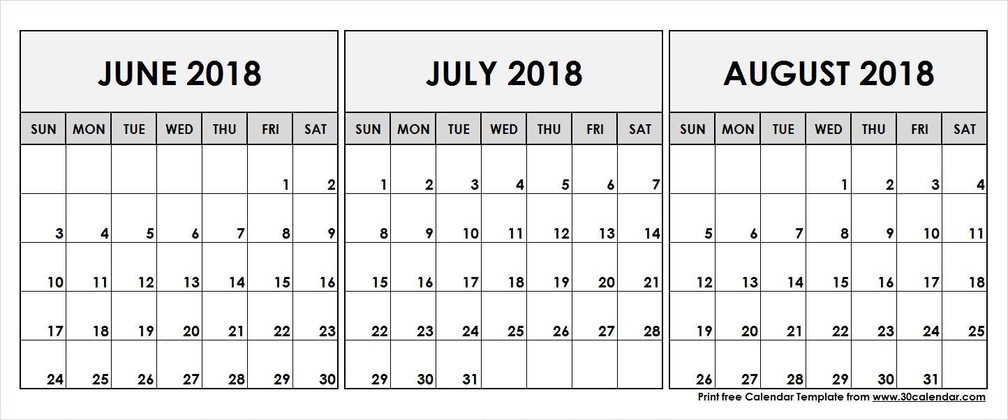 June July August 2018 Printable Calendar | 2018 Calendar | 3 Month throughout July And August Blank Calendar