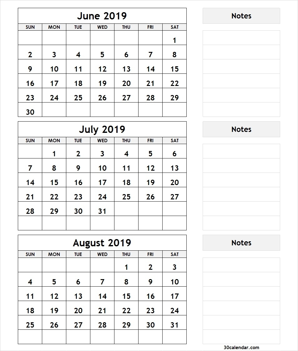 June July August 2019 Calendar | 3 Month Calendar Template pertaining to 3 Month Printable Calendar June July August