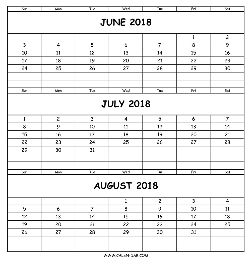 June July August Calendar 2018 | Three Months Calendar Template within 3 Month Printable Calendar June July August