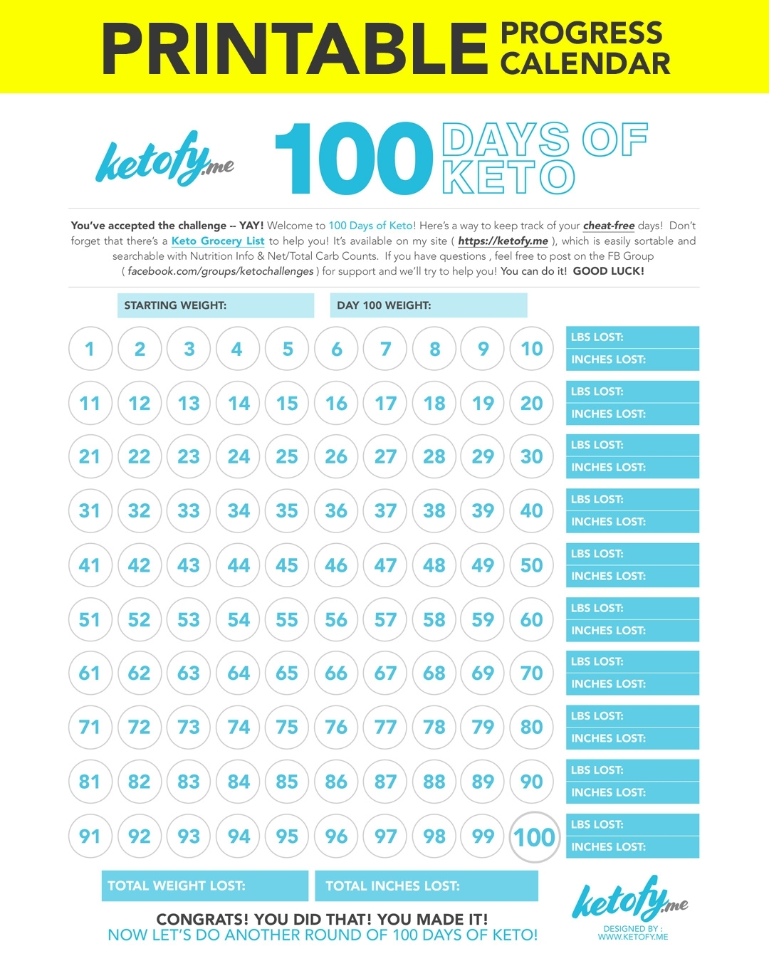 Keto ~ Fy Me | Cut Carbs, Not Flavor! • 100 Days Of Keto Challenge throughout Calendar By Day With Printable