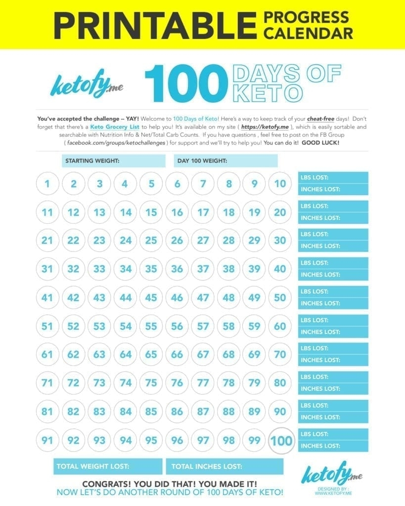 Keto ~ Fy Me | Cut Carbs, Not Flavor! • 100 Days Of Keto Challenge within 60 Days Challenge Template Calender