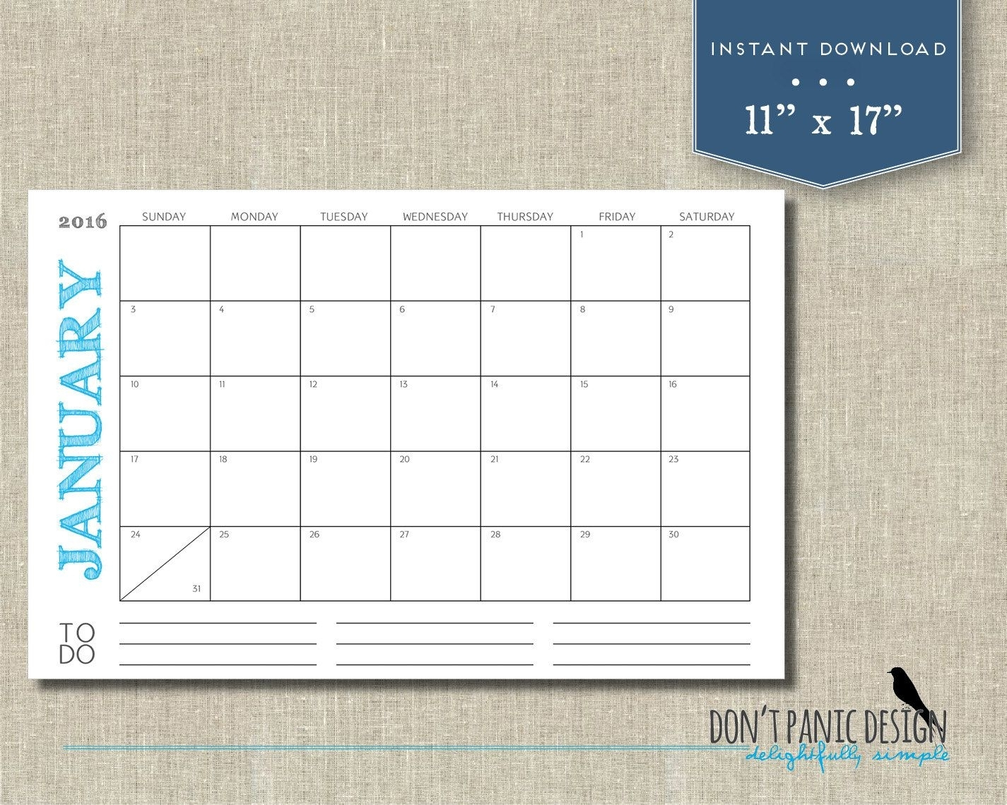 "Large 2019 Printable Monthly Calendar - Rustic Color 11"" X 17"" Wall pertaining to Printable Monthly Calendar With Lines Large"