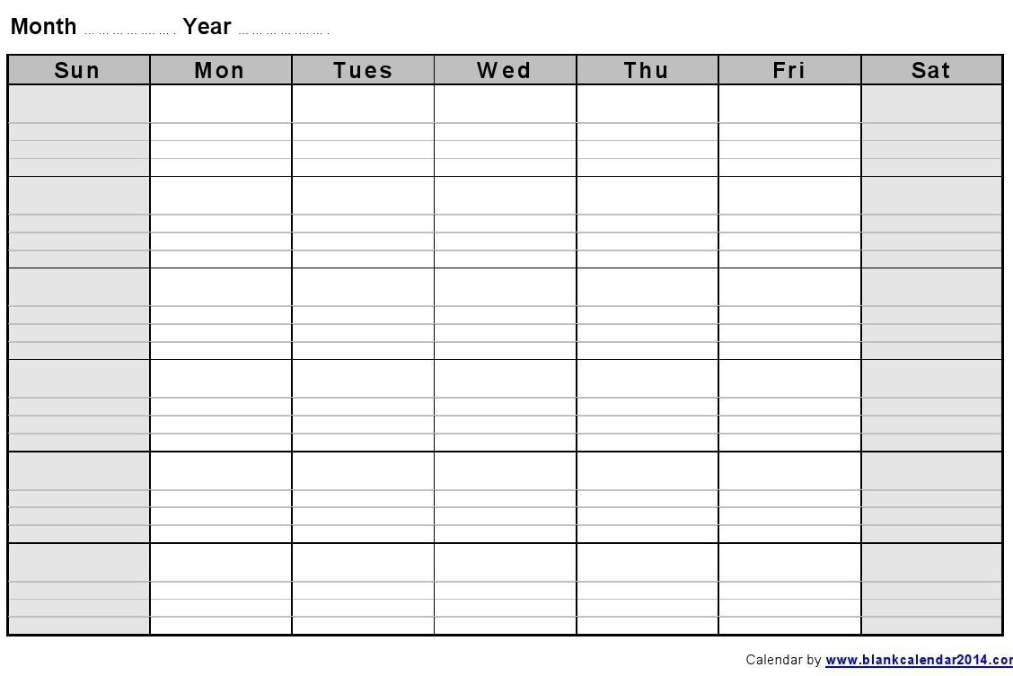 Large Blank Calendar Template Printable Online Calendar – Printable inside Large Blank Monthly Calendar Template
