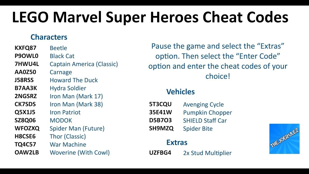 Lego Marvel All Characters Cheats – Muelez regarding Codes For Lego Marvel Avengers