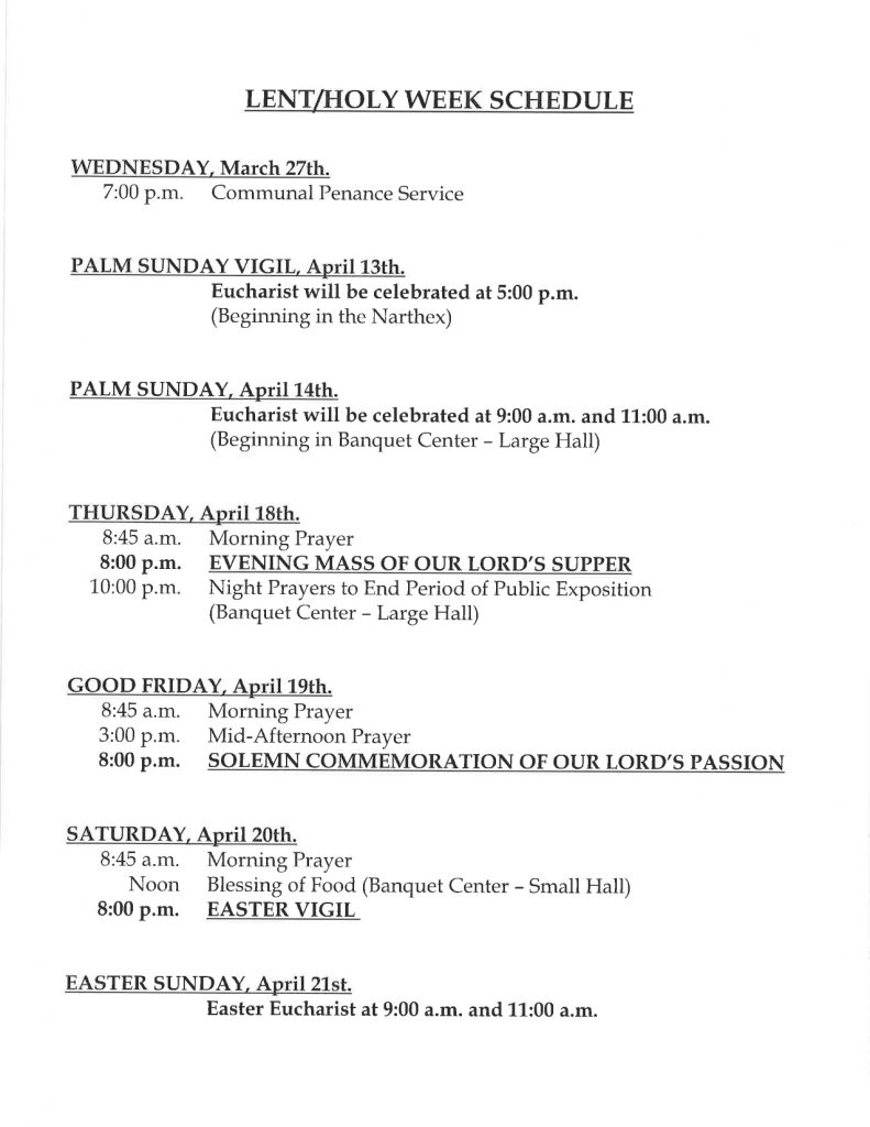 Lent/holy Week Schedule | St Noel throughout Weekly Schedule Monday - Sunday