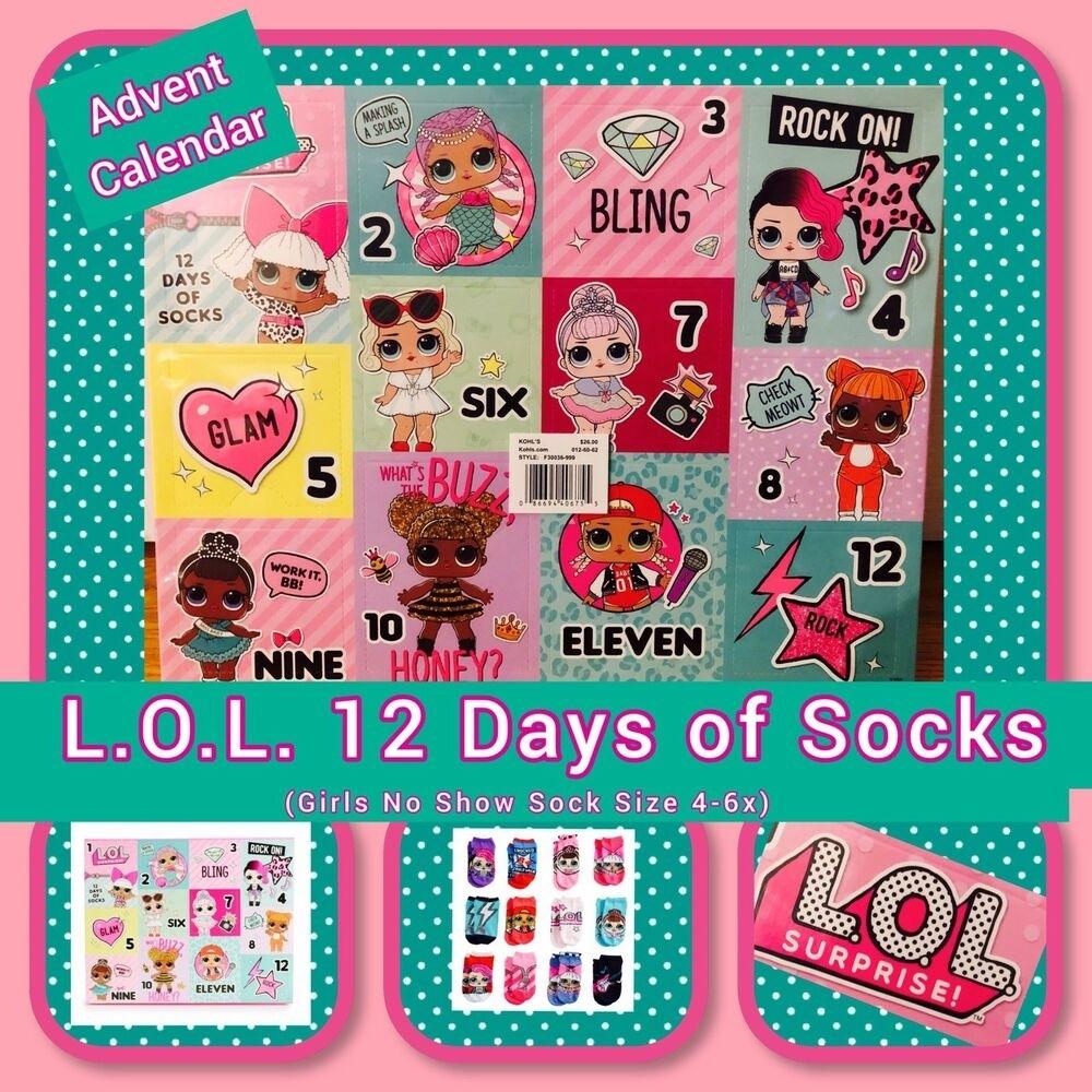 Lol, 12 Days Of Socks, Advent Calendar, Girls, Bnib, Fast Shipping inside Girls Advent Calendar With Gifts