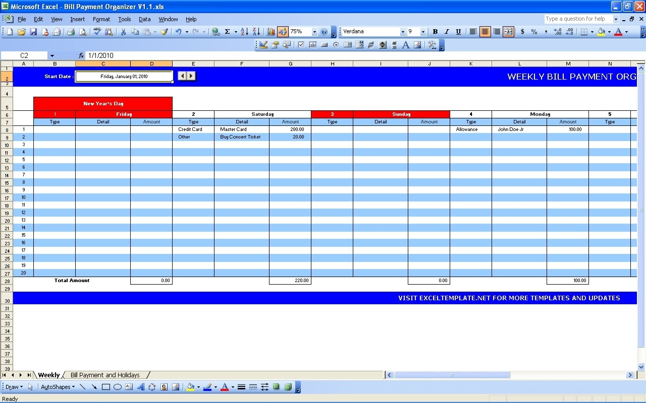 Make Weekly Calendar Excel Bill Payment S Schedule | Smorad inside Free Weekly Bill Payment Template