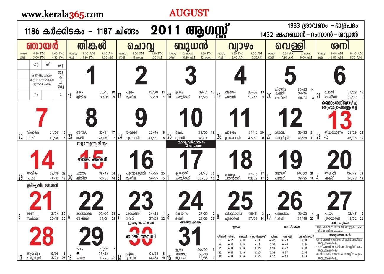 Malayalam Calender August 2011 Kerala365 At August Calendar 2011 for Malayalam Calender Of This Month