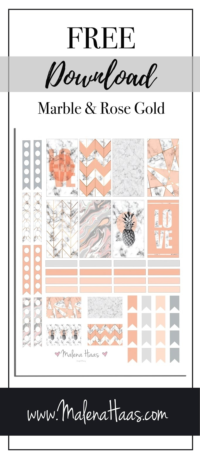 Malena Haas: ❤ Freebie Friday❤ Pink And Rose Gold Marble Stickers intended for Marble Themed Blank Class Schedule Template