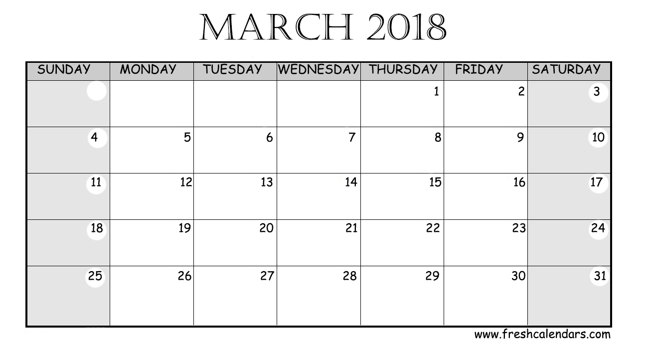 March 2018 Calendar Printable - Fresh Calendars for Large Printable Blank Calendar Pages