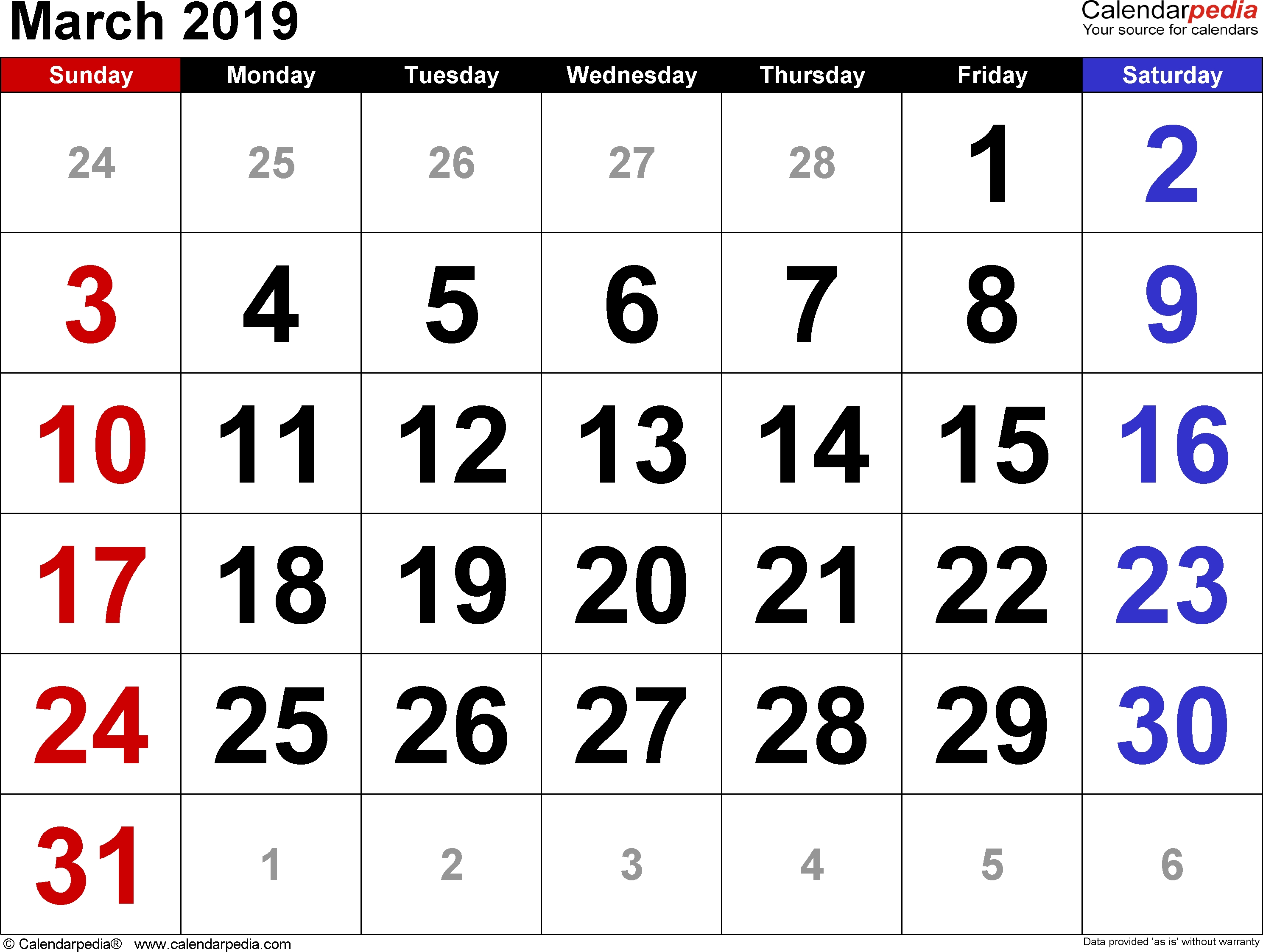 March 2019 Calendars For Word, Excel & Pdf inside Large Printable Calendar Numbers 1-31