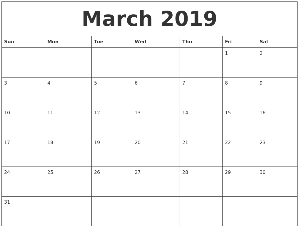 March 2019 Large Printable Calendar in Large Blank Monthly Calendar Template