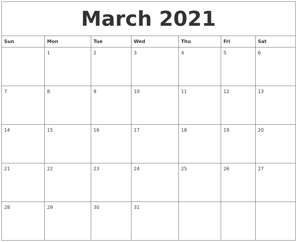 March 2021 Blank Monthly Calendar Template inside Template For Calendar By Month