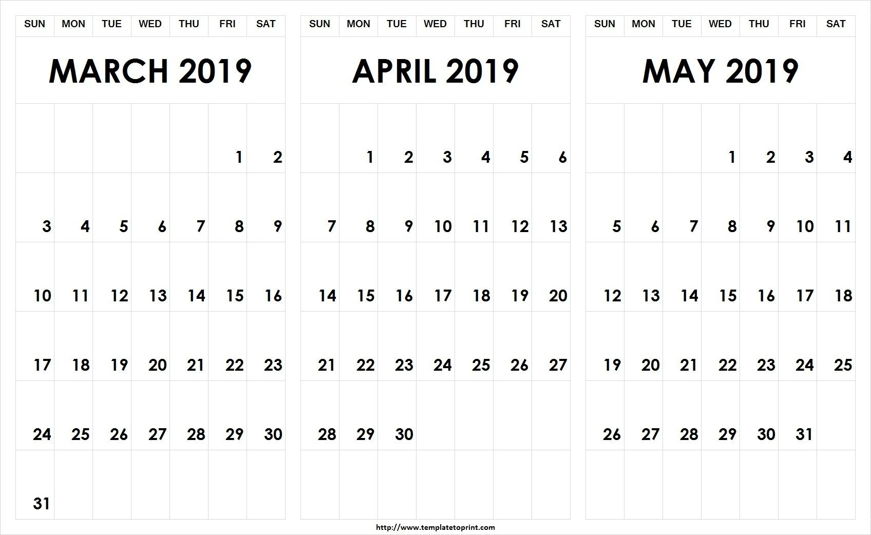 March April May 2019 Calendar Pdf #march #april #may #2019Calendars with regard to Monthly Planner Calender May 3 Months