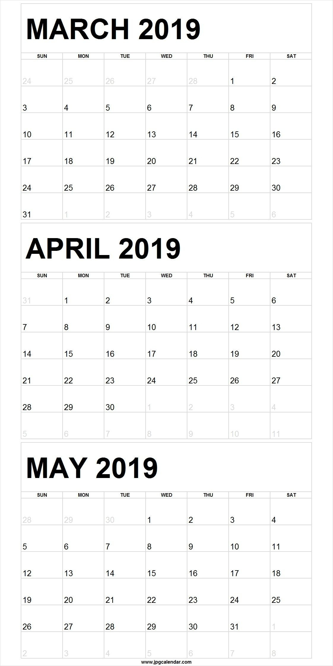 March April May 2019 Calendar Portrait | Free March 2019 Calendar within Free Printable 3 Month Calendar Template