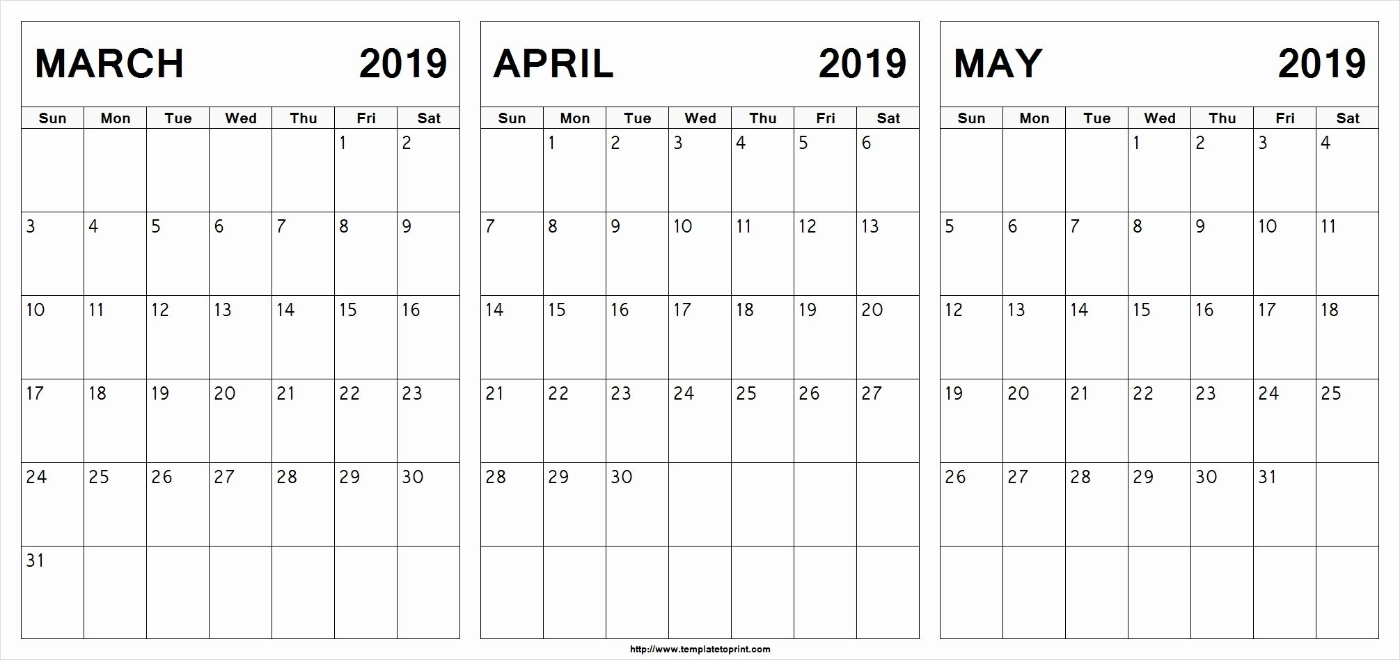March April May 2019 Calendar Printable #march #april #may pertaining to Free 3 Month Calendar Templates