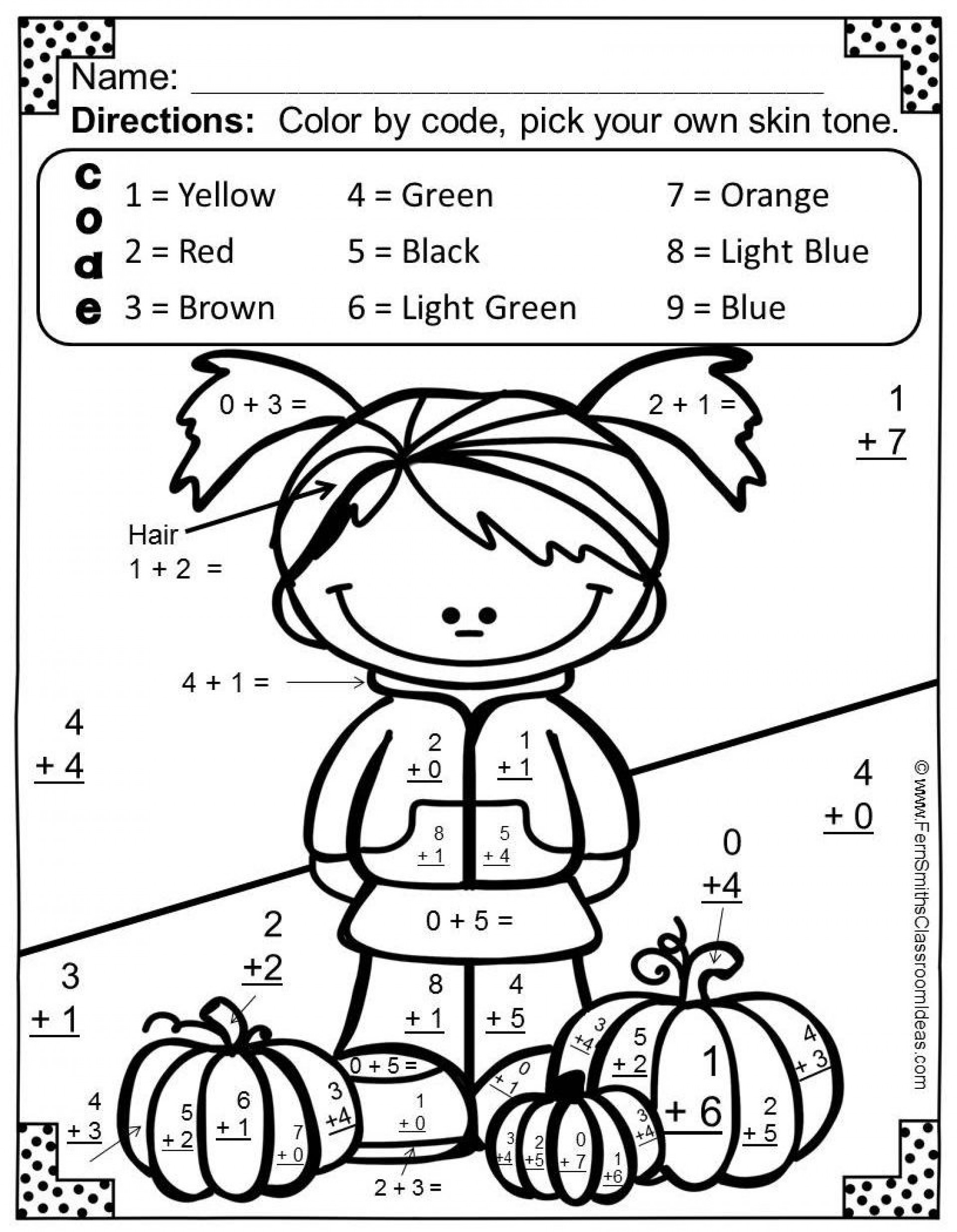 Math Coloring Worksheets 1St Grade 2Nd Pages Printable Addition For inside 1St Grade Math Coloring Sheets