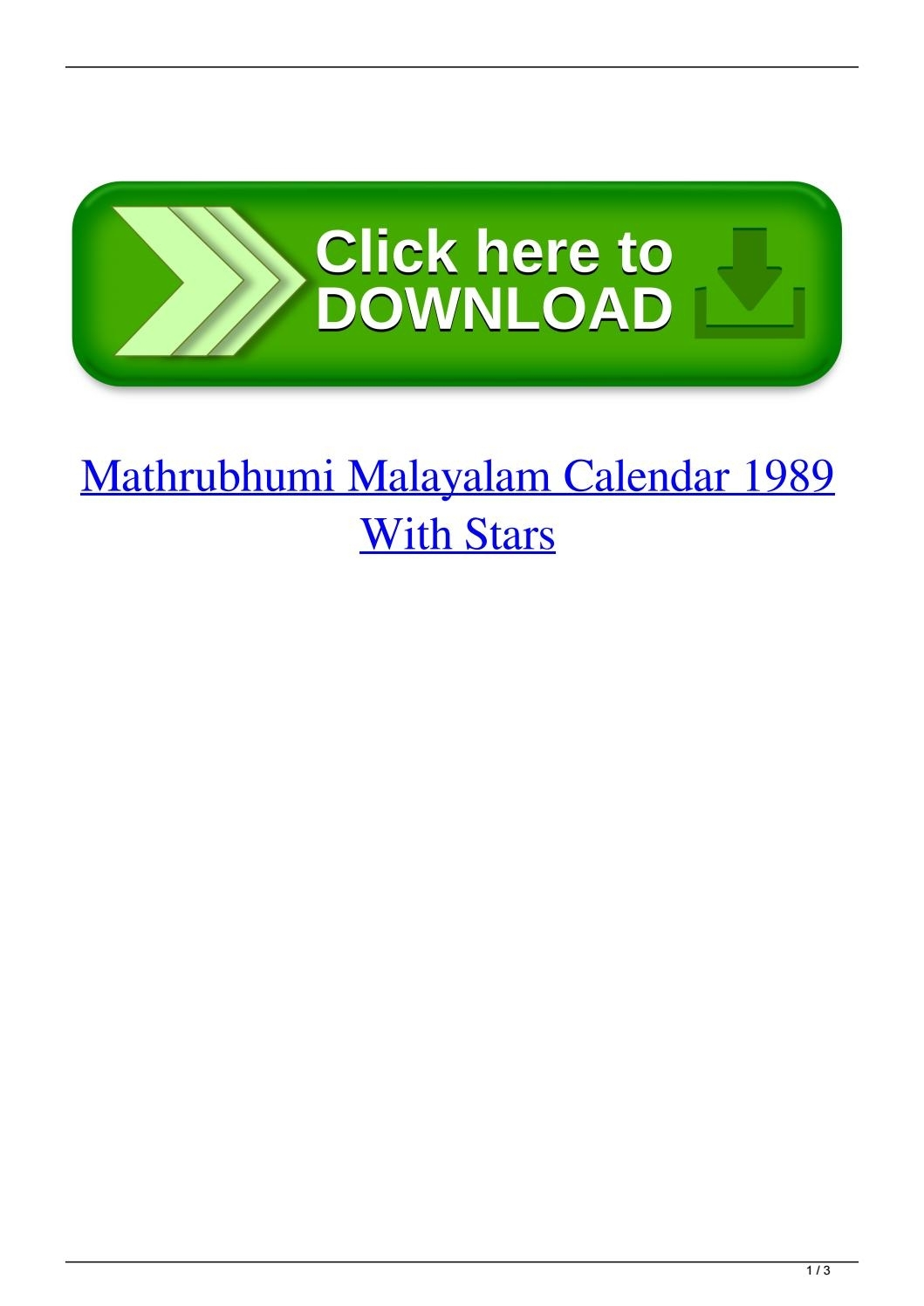 Mathrubhumi Malayalam Calendar 1989 With Starspenleysnowaf - Issuu inside August 1996 Calendar And Malayalam Days
