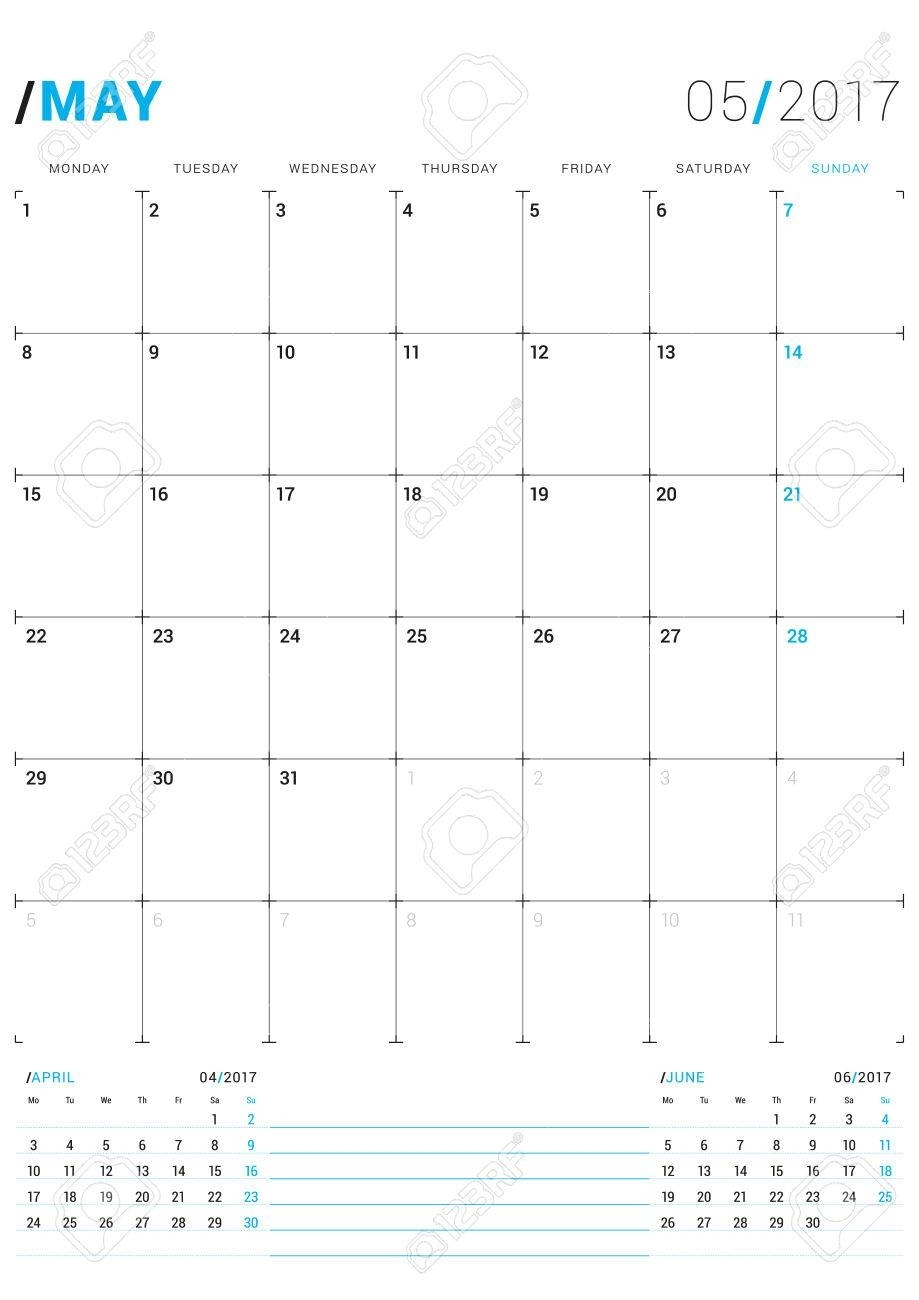 May 2017. Vector Print Template. Monthly Calendar Planner For throughout Monthly Planner Calender May 3 Months