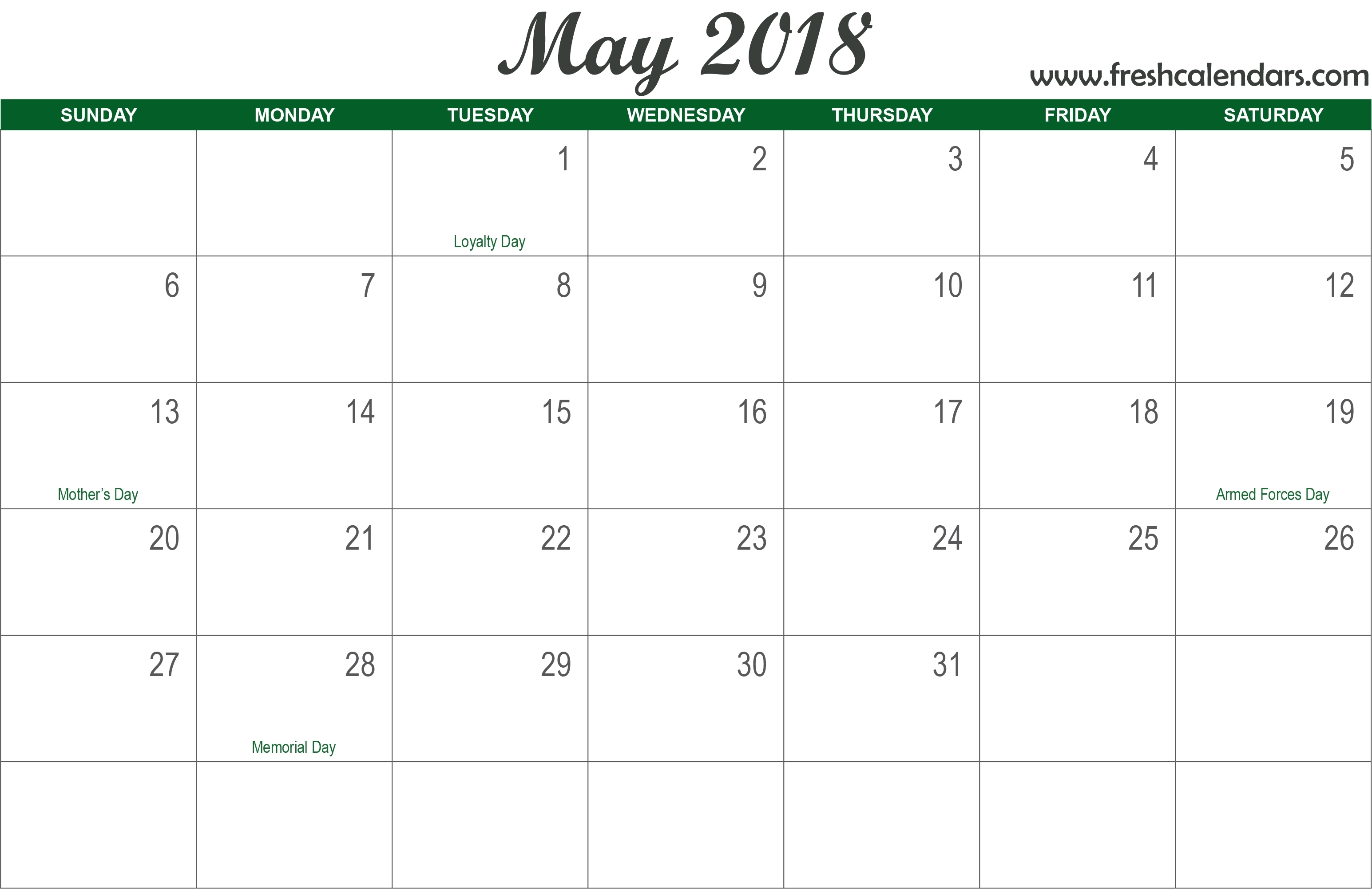 May 2018 Calendar Printable - Fresh Calendars inside Free Template Printable Calendar Numbers